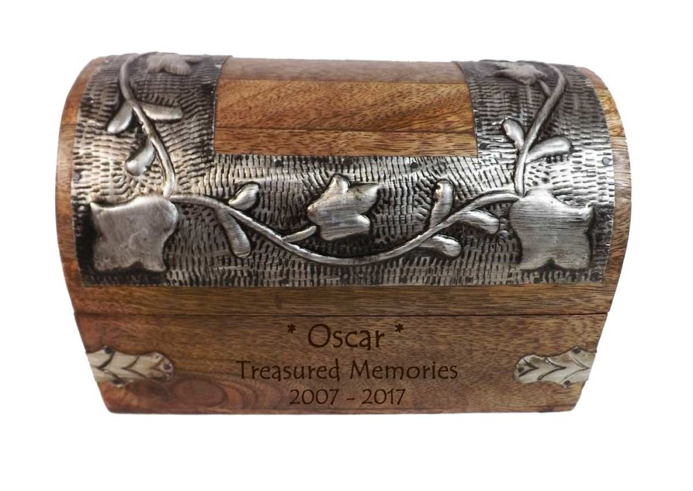 Silver Leaf Memorial Keepsake Wooden Box - Medium