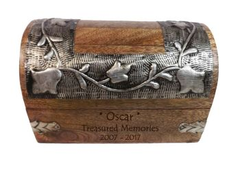 Silver Leaf Memorial Keepsake Wooden Box - Medium