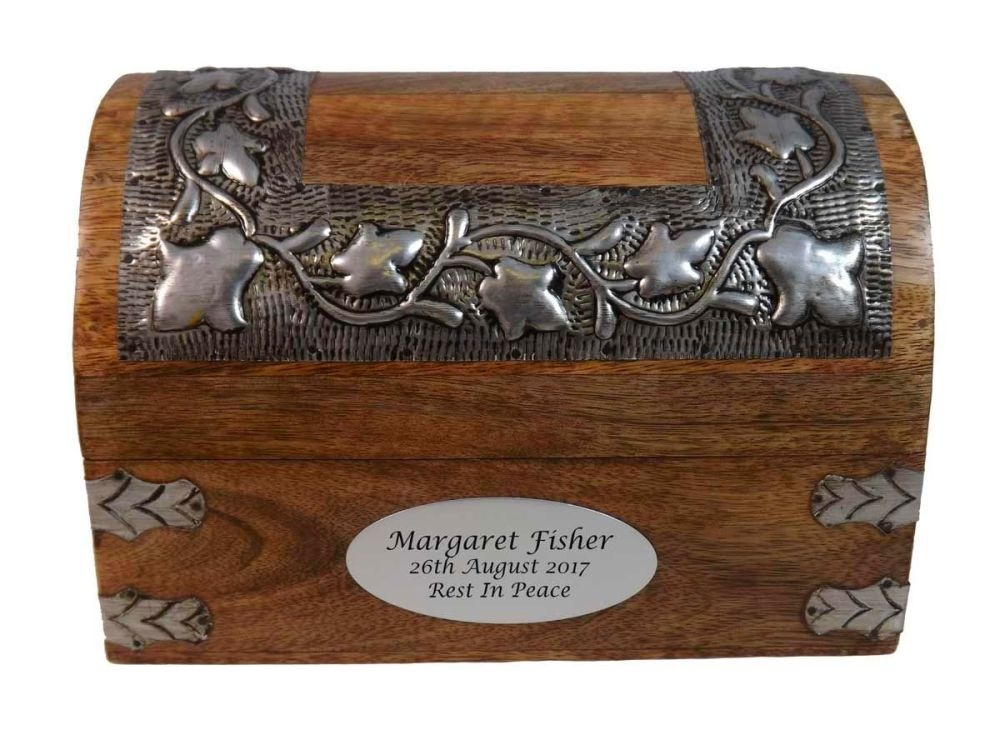 Silver Leaf Wooden Memorial Keepsake Box - Large