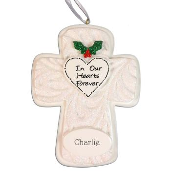 """Memorial Cross Personalised Christmas Decoration - """"In our hearts forever"""""""