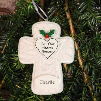 "Memorial Cross Personalised Christmas Decoration - ""In our hearts forever"""