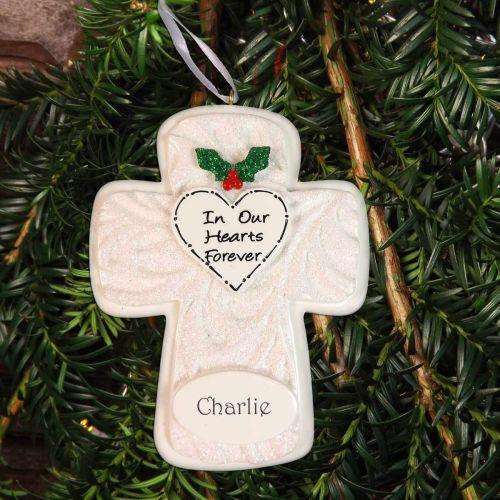 Memorial Cross Personalised Christmas Decoration -