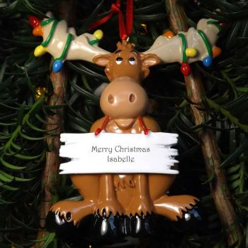Moose - Personalised Christmas Tree Decoration