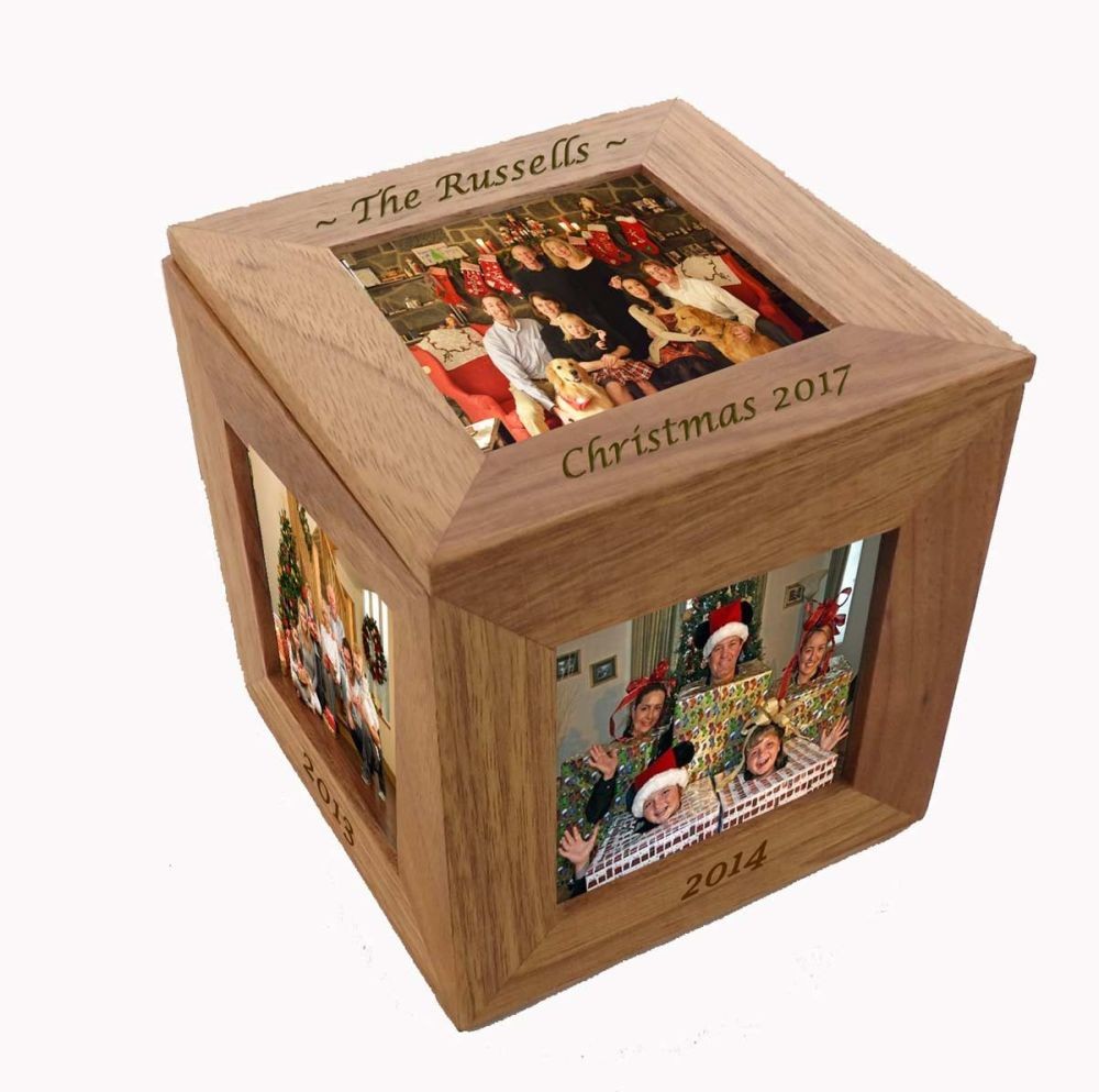 Oak Wood Photo Cube - A Beautiful Personalised Gift For Christmas