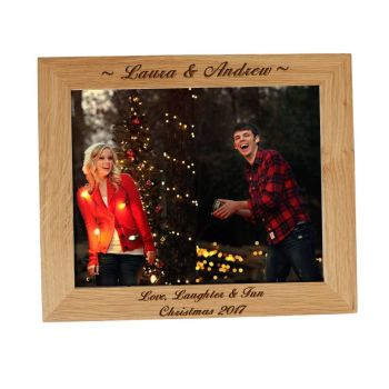Solid Oak 10x8 Personalised Photo Frame - Perfect Christmas Gift
