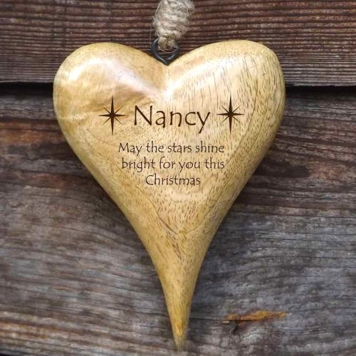 Personalised Small Hanging Heart in Solid Natural Wood - Christmas Stars