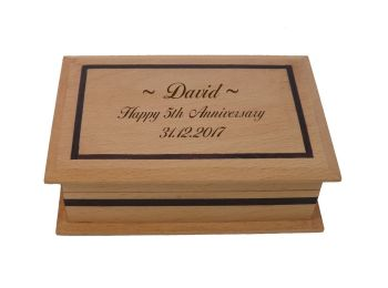 Beech Wood Keepsake Box  Personalised as a unique 5th Anniversary Gift