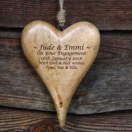 Personalised Large Hanging Heart in Natural Solid Wood  - A Unique Engageme