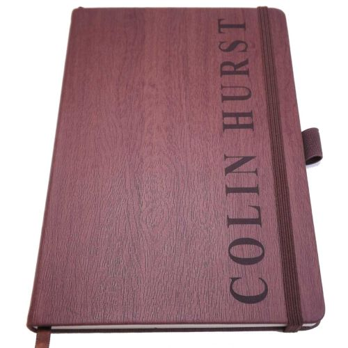 Retirement Wood-Look Notebook personalised with a name