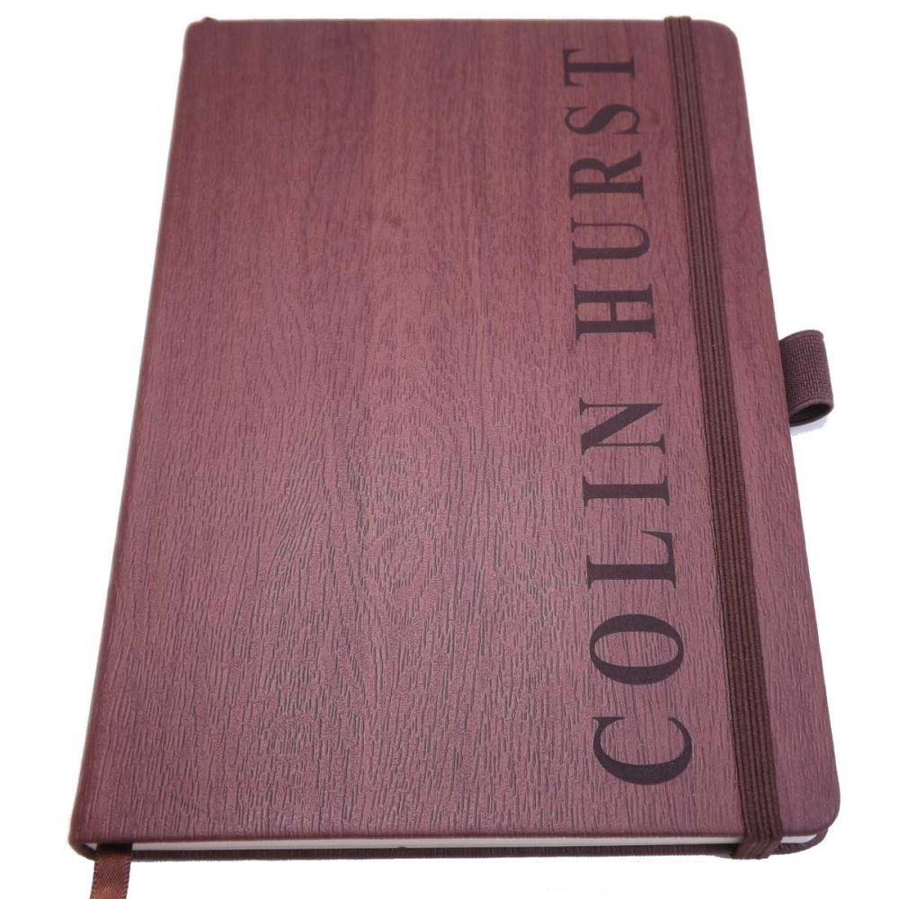 Wedding Wood-Look Notebook personalised with a name