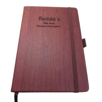 Teacher's Wood-Look Notebook personalised with a name and message