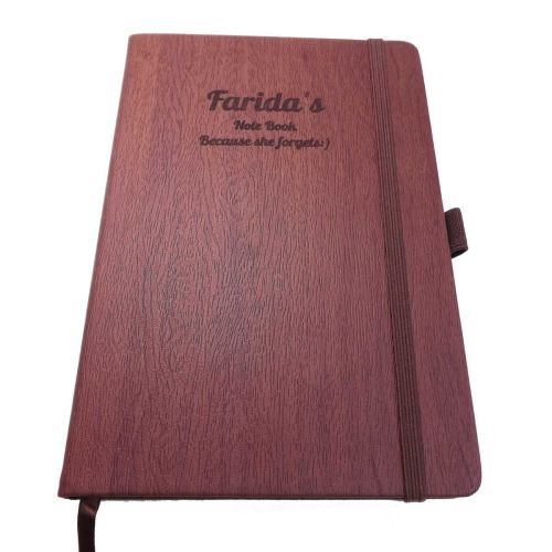 Thank you Wood-Look Notebook personalised with a name and message
