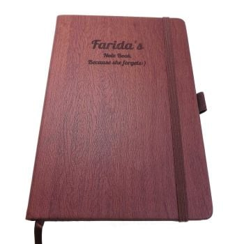 Wedding Wood-Look Notebook personalised with a name and message