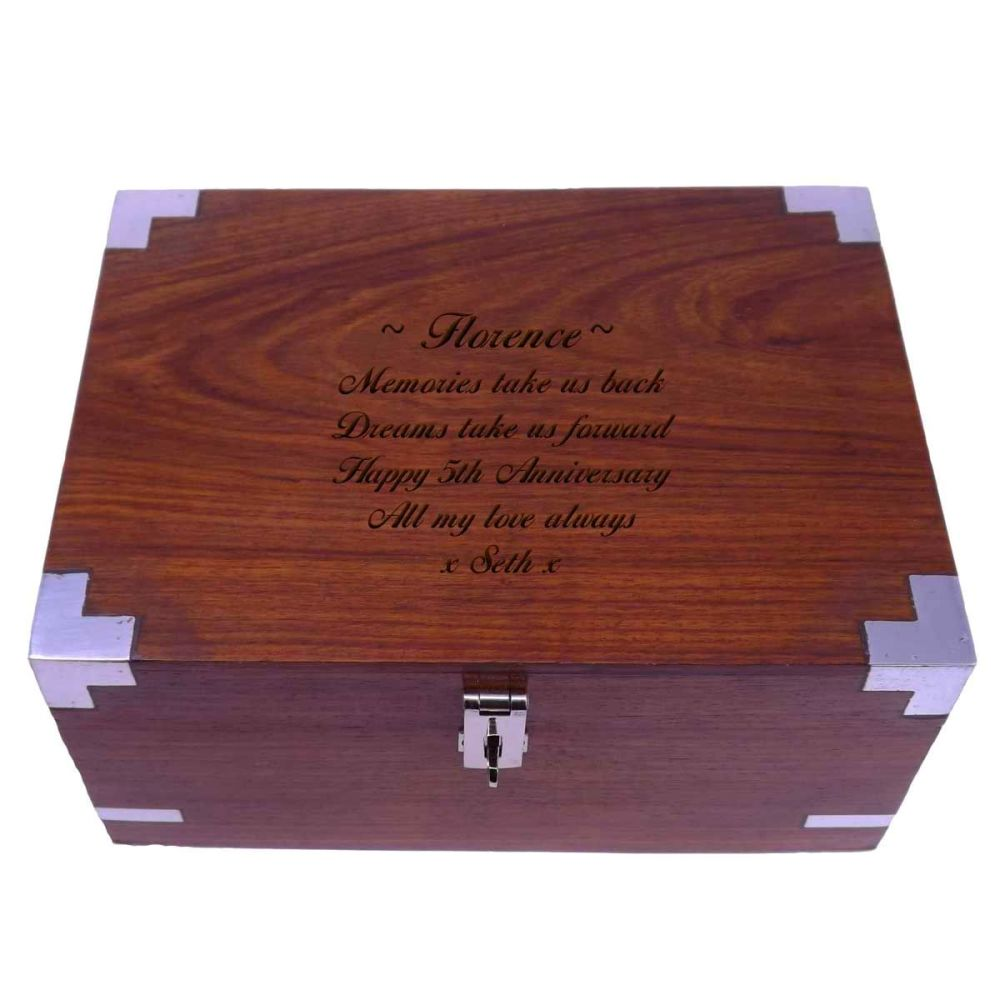 Personalised Solid Rosewood 5th Anniversary Keepsake Box