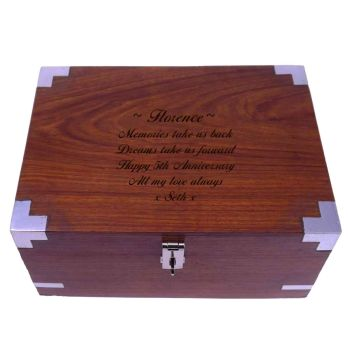 Personalised Solid Rosewood 5th Anniversary Keepsake Box