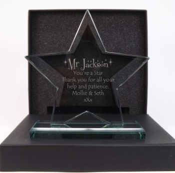 Glass Star Award personalised to make it a perfect gift for that special teacher.