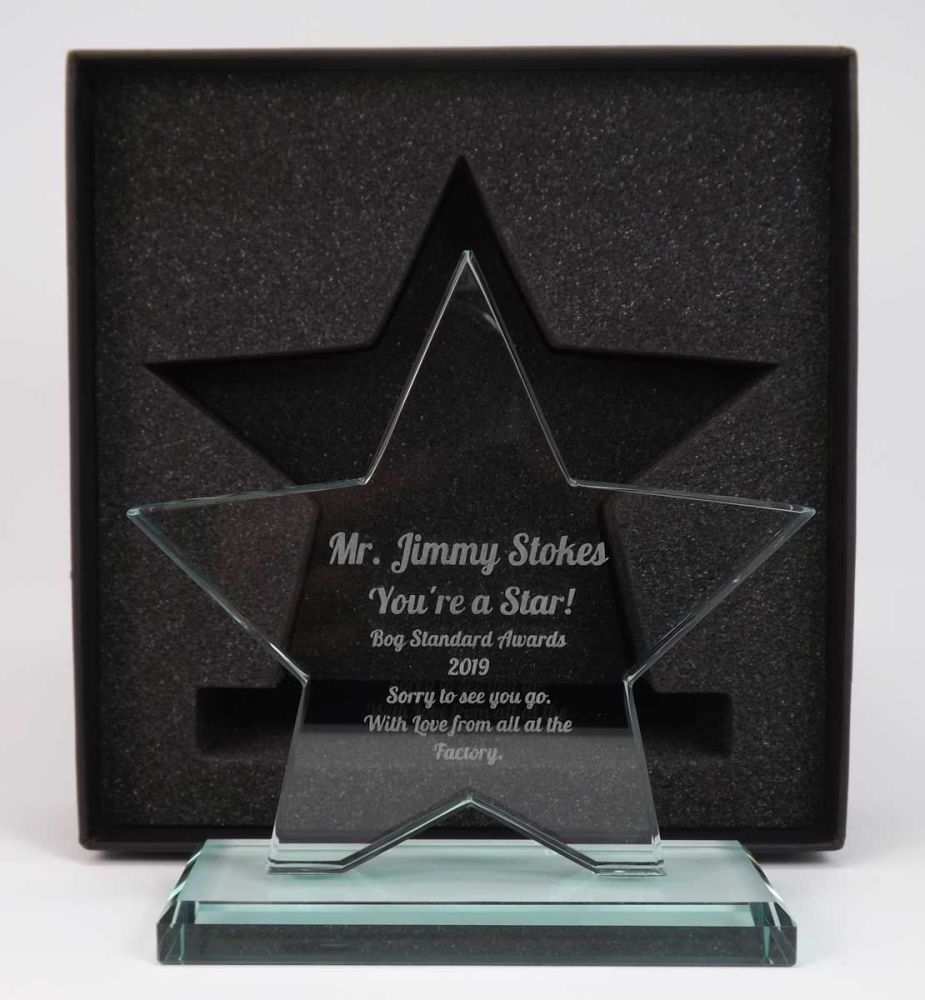 Glass Star Award personalised to make it a perfect gift for that special t