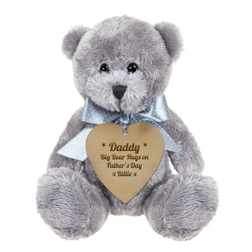 Father's Day Grey Teddy Bear With Personalised Wooden Heart Shaped Tag