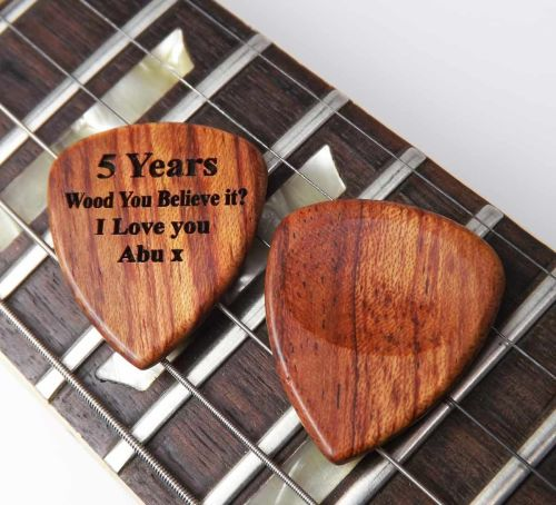 Wooden Guitar Pick/Plectrum engraved with name or message
