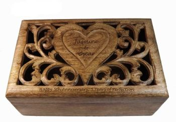 5th Wedding Anniversary Carved Wooden Box with personalised heart - Large
