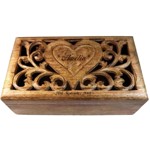 Carved Wooden Box with personalised heart - Large