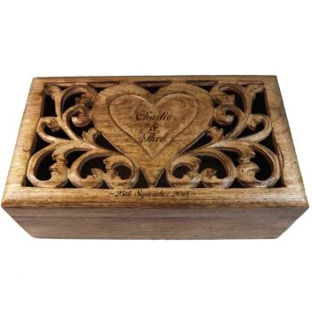 Carved Wooden Keepsake Box with personalised heart - Large. A great Wedding Gift