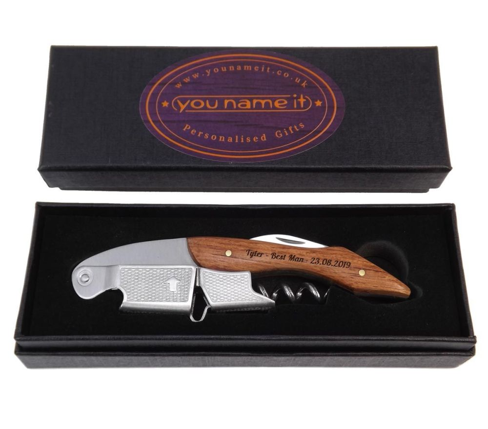 Personalised Bottle Opener Corkscrew an ideal gift for both wine lovers and