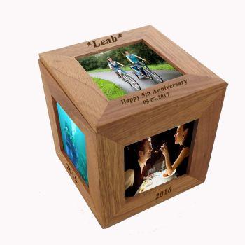 Oak Wood Photo Cube |  A Unique 5th Anniversary Gift
