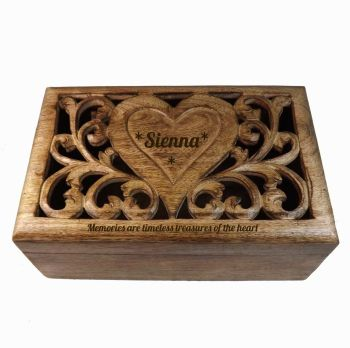 Christmas Carved Wooden Box with personalised heart - Large