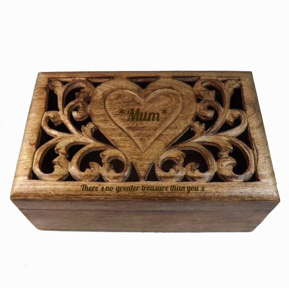 Carved Wooden Keepsake Box with personalised heart - Large. A Beautiful Mot