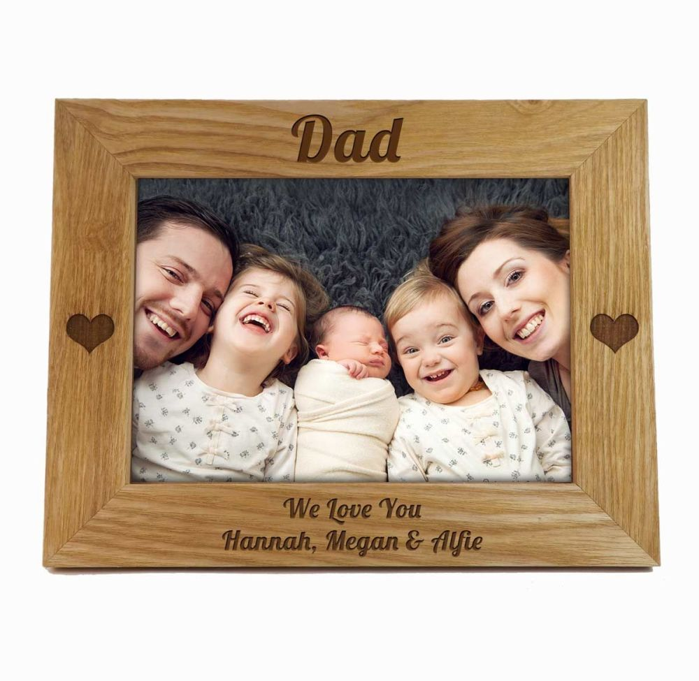 Father's Day Frame with Hearts, personalised with your special words.