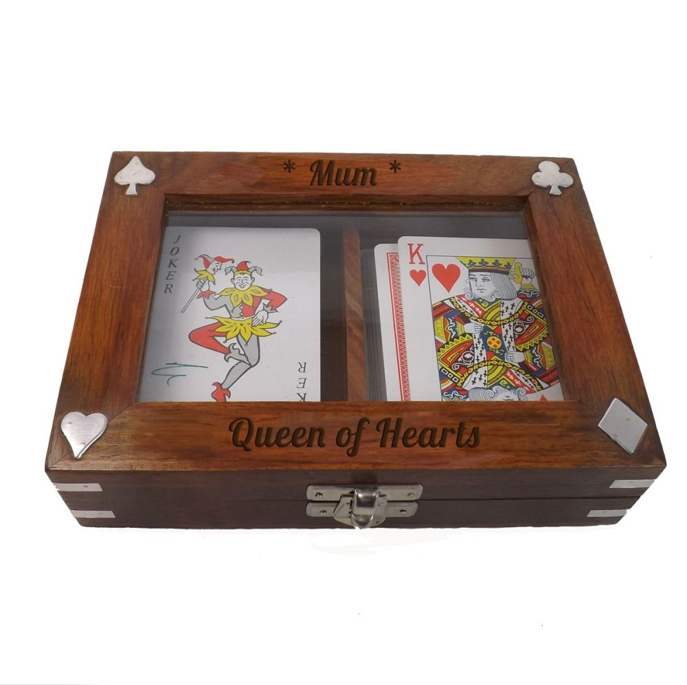 Wooden Playing Card Box for Mum 'The Queen of Hearts'. Includes 2 FREE deck