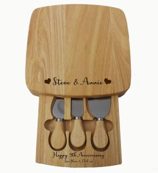 Cheese Board Set with tray & personalised with names & message