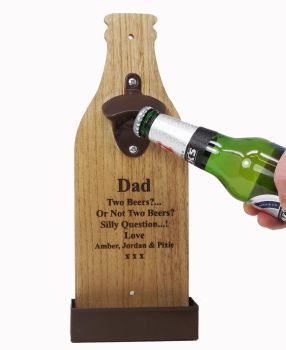 Personalised Wooden Wall Mounted Bottle Opener engraved with a name or message.