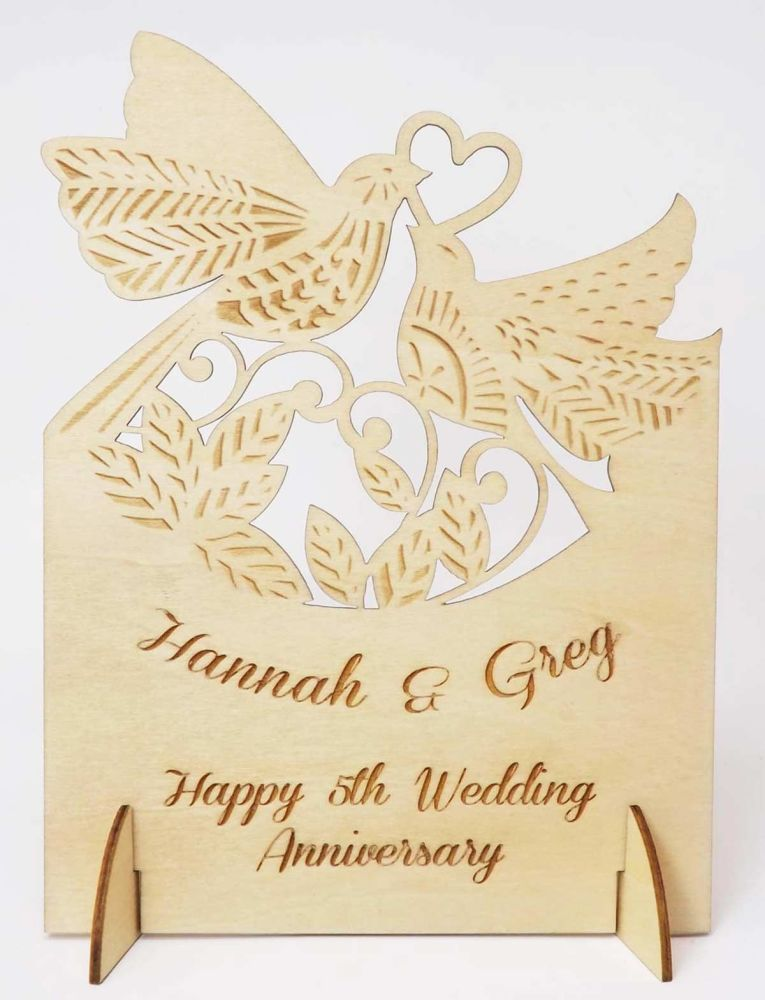 Wooden Personalised 5th Anniversary Card