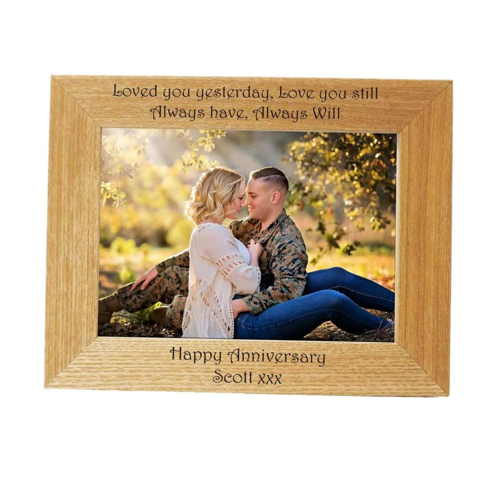 Personalised 7x5 Ash Photo Frame - Perfect Anniversary gift *NEW RANGE LOWE