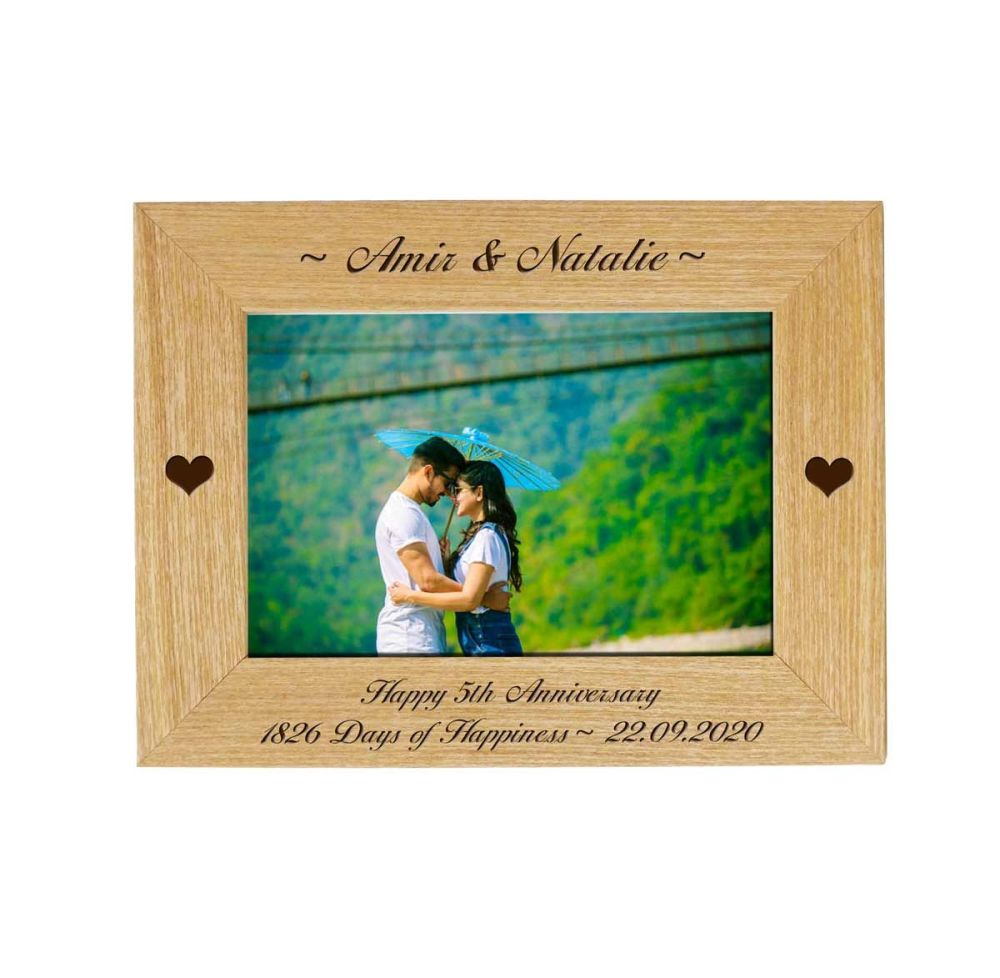 Personalised 5th Anniversary 6x4 Ash Photo Frame *NEW RANGE LOWER PRICE*