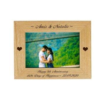 Personalised 5th Anniversary 6x4 Ash Photo Frame *NEW RANGE LOWER PRICE*