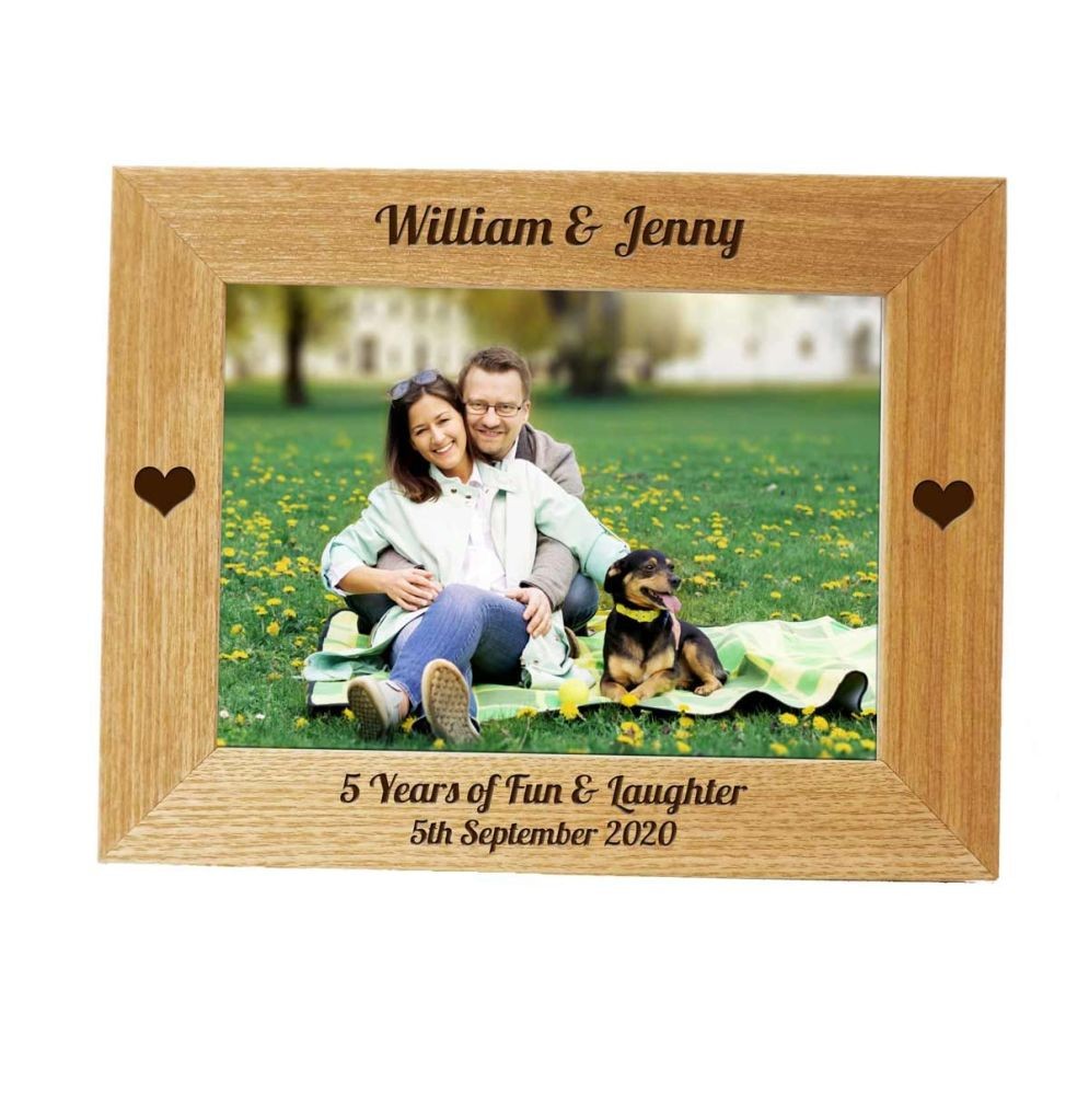 Personalised 7x5 Ash Photo Frame - Perfect 5th Anniversary gift *NEW RANGE