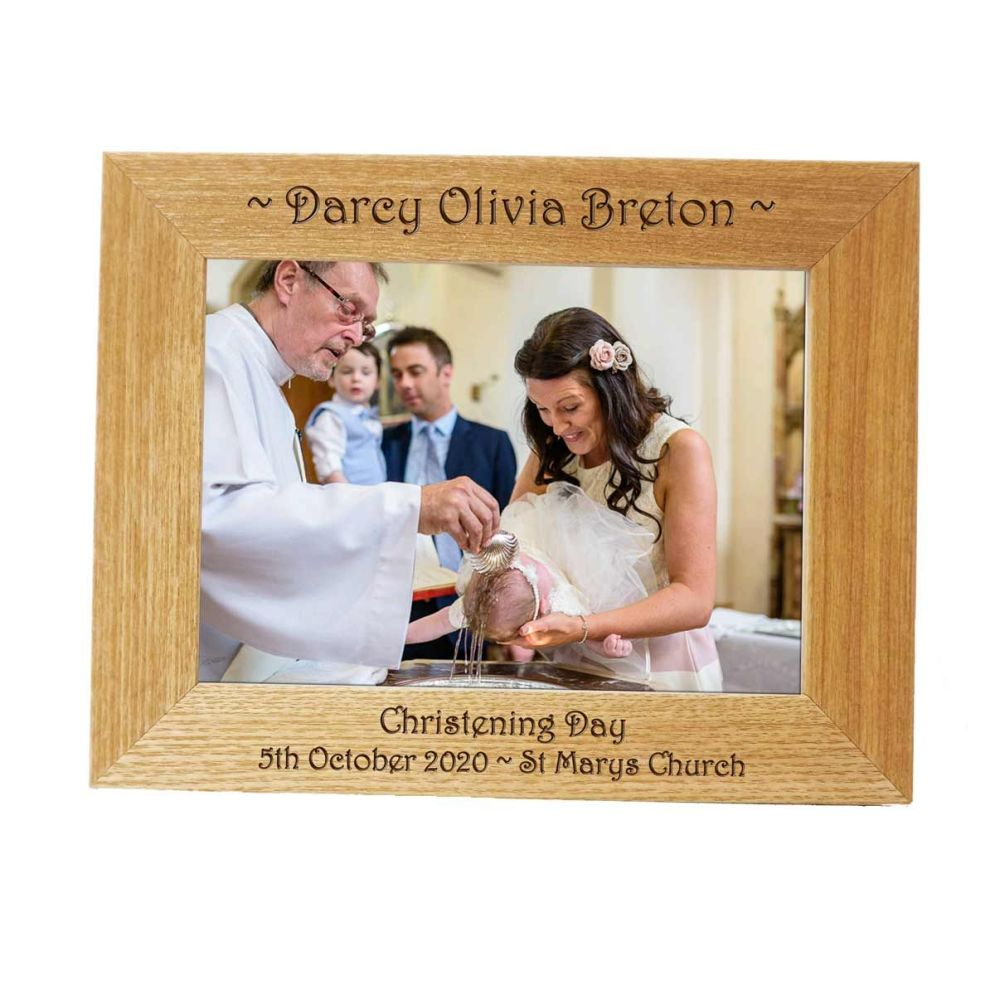Personalised 7x5 Ash Photo Frame - Perfect Christening gift *NEW RANGE LOWE