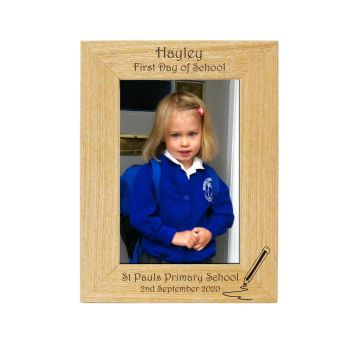 Personalised First Day of School 6x4 Ash Photo Frame with Pencil image