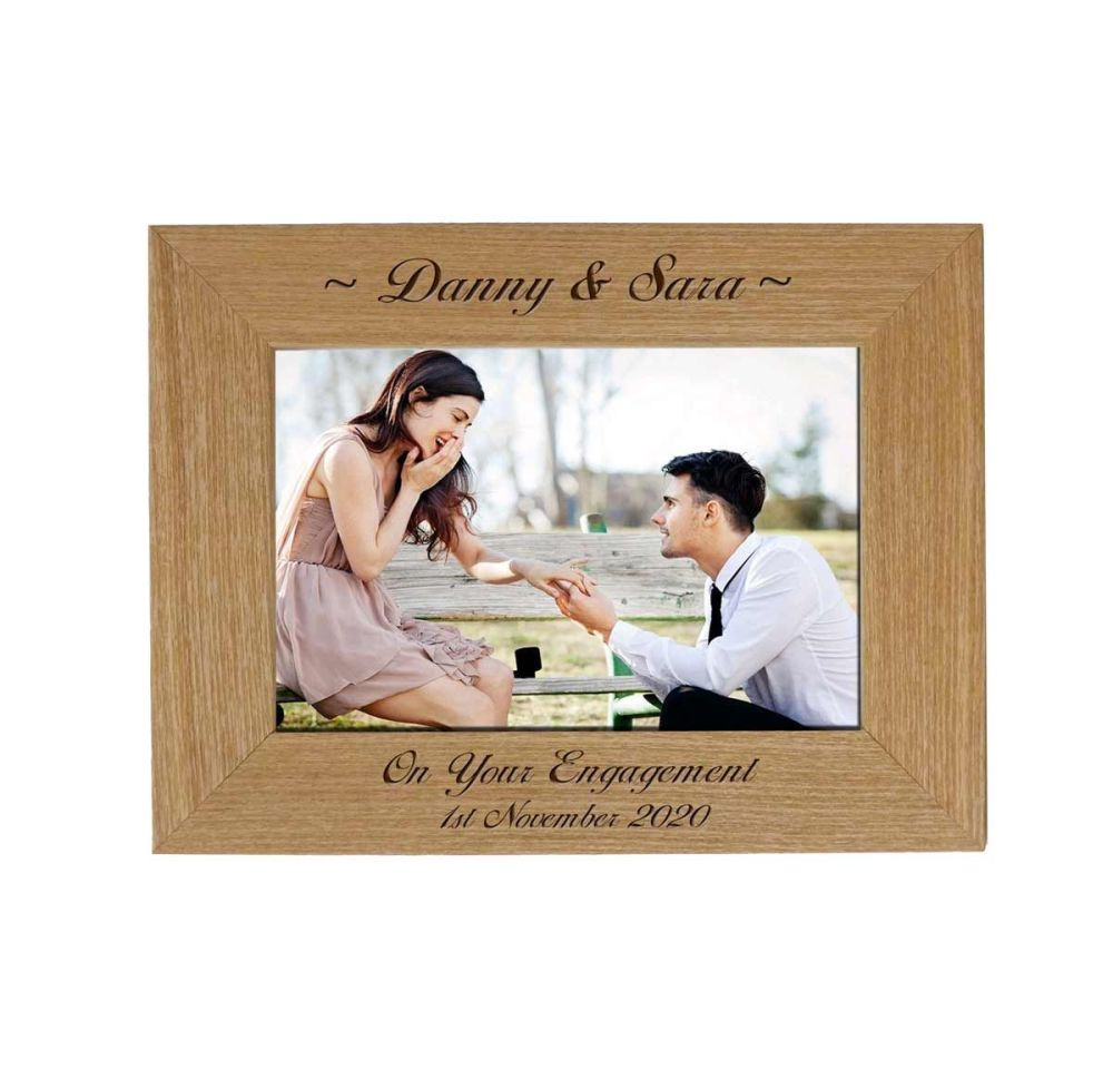 Personalised Engagement 6x4 Ash Photo Frame *NEW RANGE LOWER PRICE*