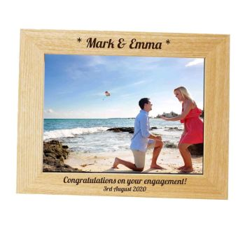 Personalised 10x8 Solid Oak Photo Frame - Perfect for an Engagement Gift