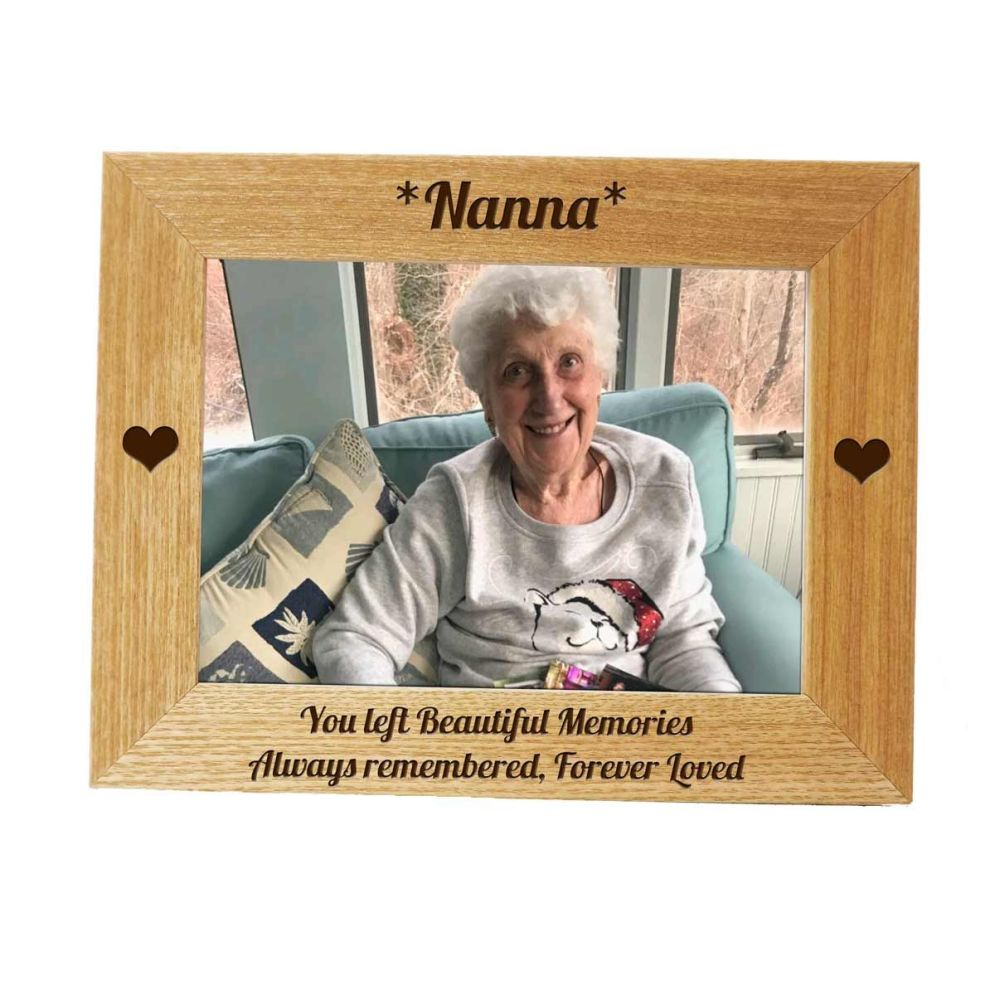 Memorial Frame with Hearts, personalised with your special words.