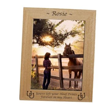 Personalised Pet Memorial Frame with Horseshoes engraved.
