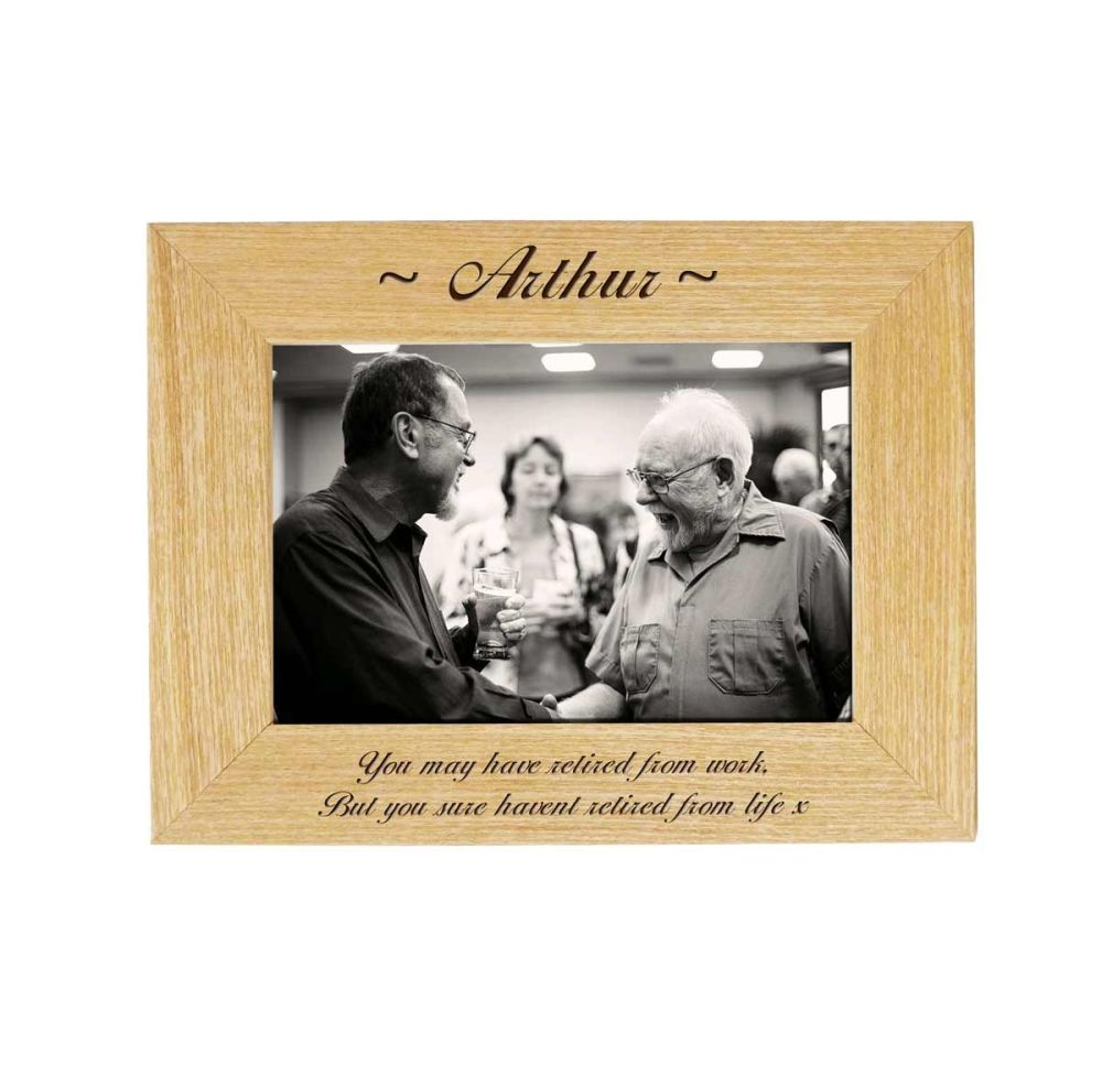 Personalised Retirement 6x4 Ash Photo Frame *NEW RANGE LOWER PRICE*