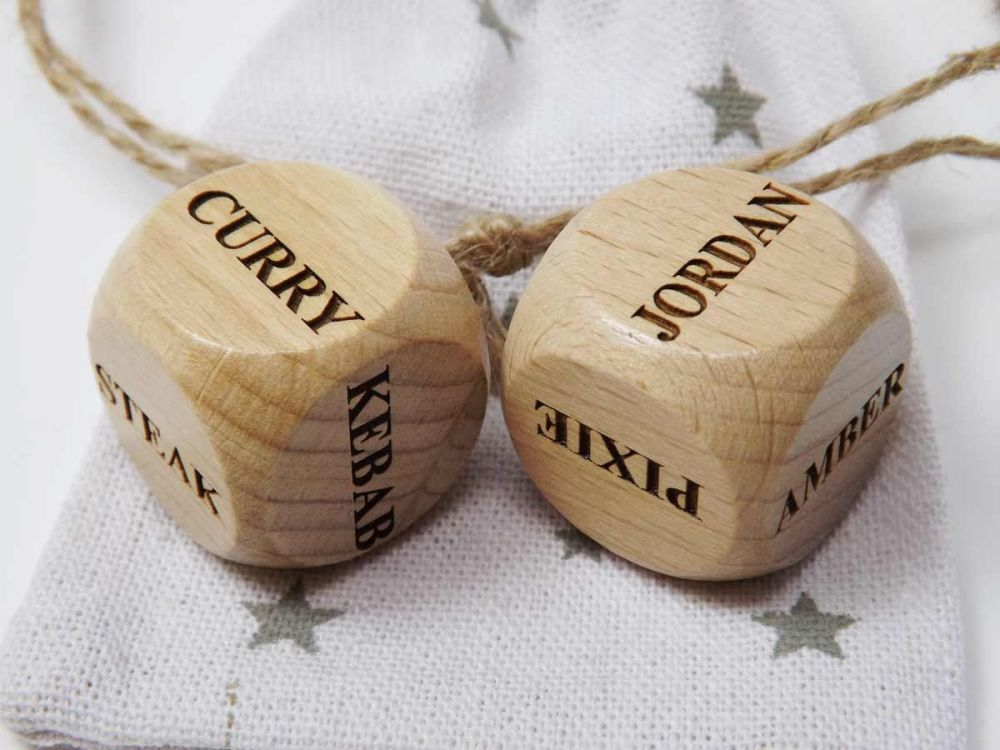 Personalised Wooden Dice engraved with your choice of words.