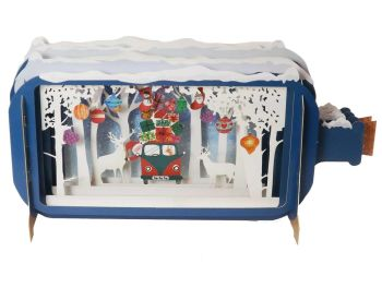 Pop up 3D Christmas Card with Santa & Campervan