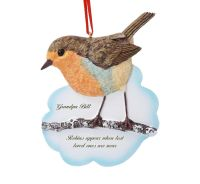 Robin hanging Christmas decoration personalised UK