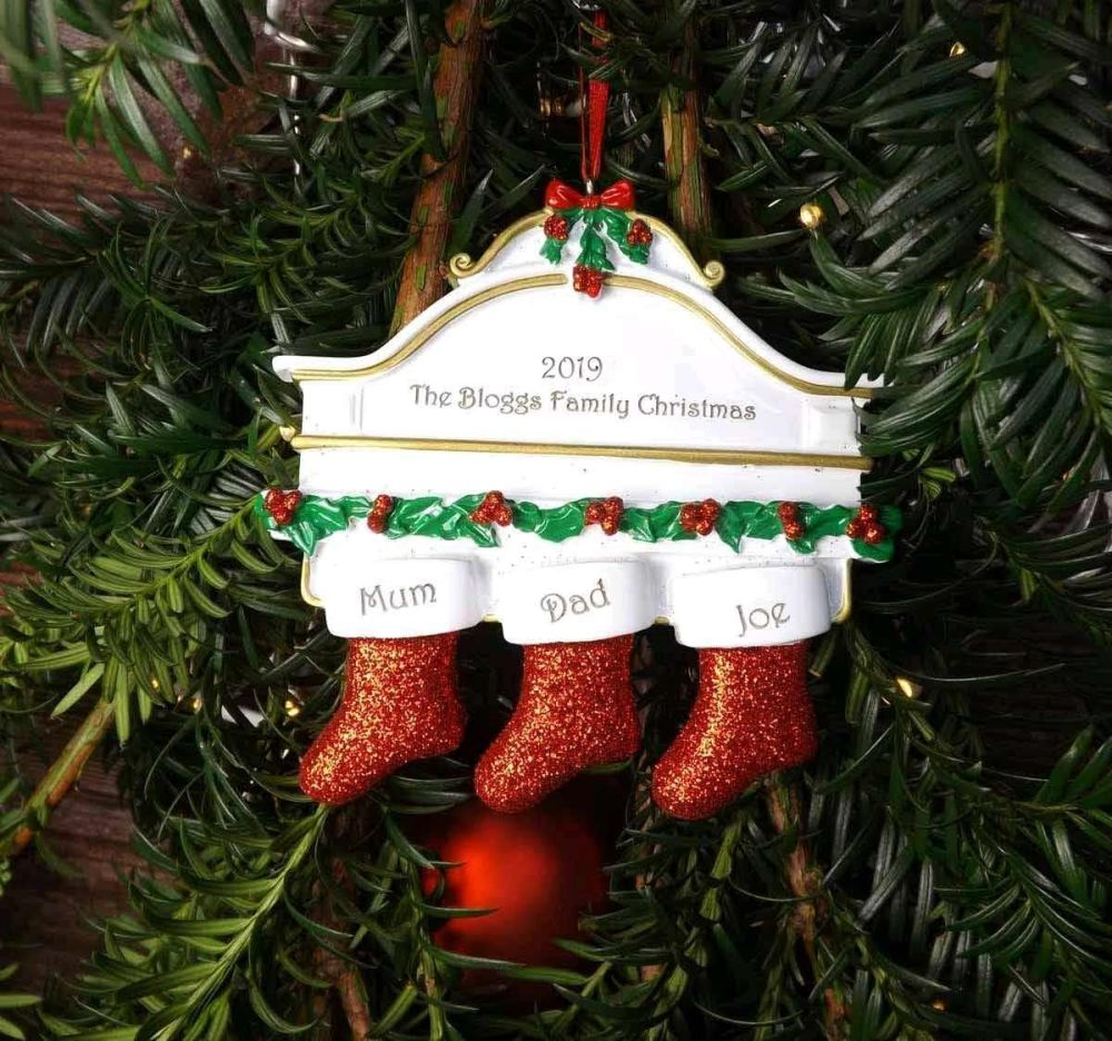 Family of 3 Christmas Stockings - Personalised Tree Decoration